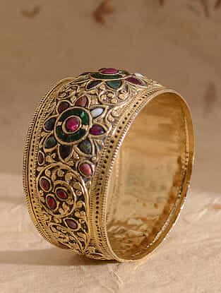 Multicolored Gold Plated Jadau Bangle (Bangle Size-2/8)
