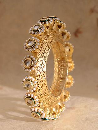 Green Meenakari Gold Plated Kundan Bangle With Pearls (Bangle size-2/1)