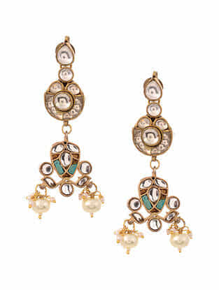 Turquoise Gold Plated Kundan Earrings With Pearls