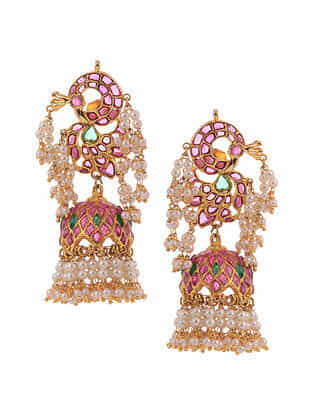 Pink Green Gold Plated Temple Work Jadau Earrings With Pearls