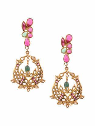 Pink Green Gold Plated Jadau Earrings