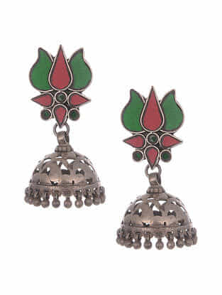 Red Green Tribal Silver Earrings