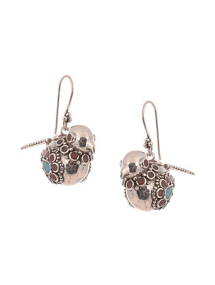 Multicolour Tribal Silver Earrings