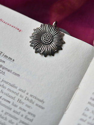 Silver Sunflower Bookmark