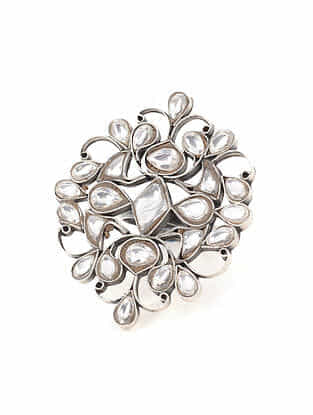 Kundan Silver Adjustable Ring