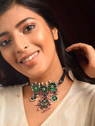 Pink Green Kundan Silver Necklace with Pearls