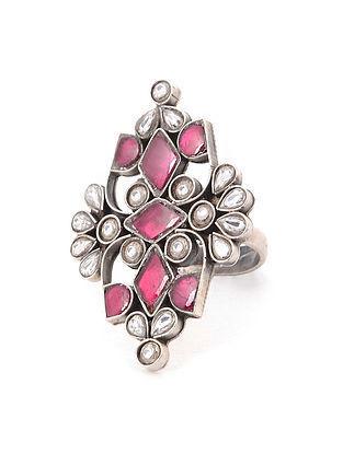 Pink Kundan Silver Adjustable Ring