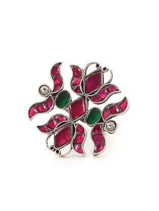 Pink Green Kundan Silver Adjustable Ring