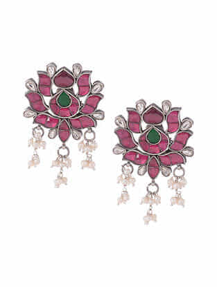 Pink White Kundan Silver Earrings with Pearls
