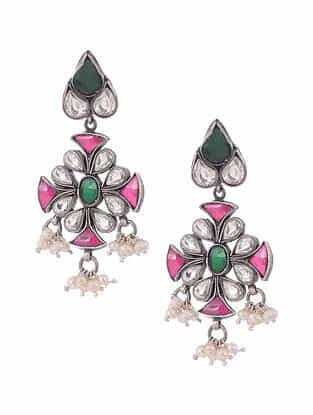 Multicolour Kundan Silver Earrings with Pearls