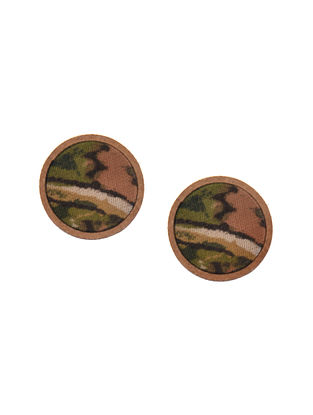 Green Brown Upcycled Fabric Earrings