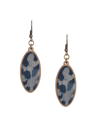 Blue Upcycled Fabric Earrings
