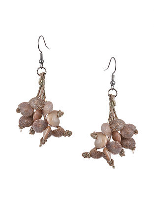 Beige Handcrafted Earrings With Shells