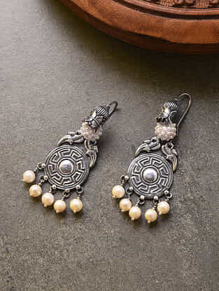Vintage Tribal Silver Earrings with Pearls