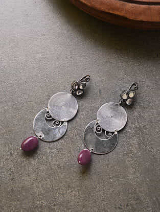 Vintage Tribal Silver Earrrings with Red Stone