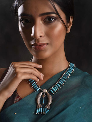 Vintage Tribal Silver Necklace with Turquoise