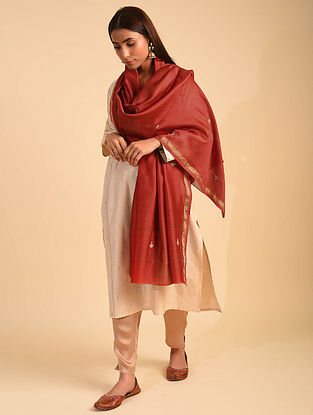 Red Chanderi Dupatta with Embroidery