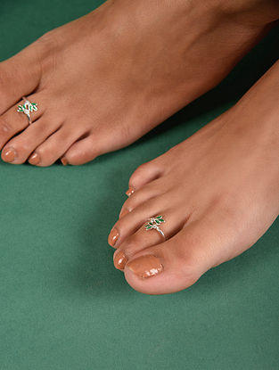Green Tribal Silver Toe Ring (Set Of 2)