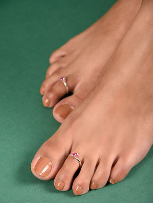 Maroon Tribal Silver Toe Ring (Set Of 2)
