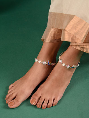 Multicolour Tribal Silver Anklet (Set Of 2)