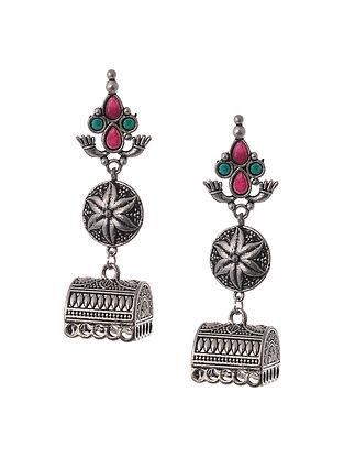 Pink Green Silver Tone Tribal Jhumki Earrings