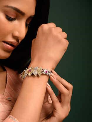 Pink Dual Tone Tribal Bracelet