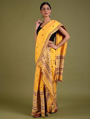 Yellow Cotton Mekhela Chador (Set Of 3)
