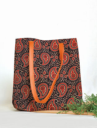 Black Handcrafted Cotton Tote Bag