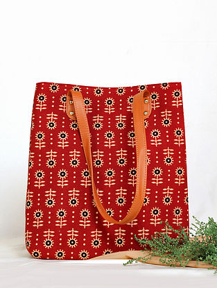 Red Handcrafted Cotton Tote Bag