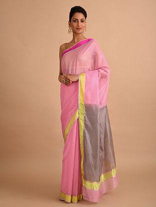 Pink-Grey Handwoven Chanderi Saree