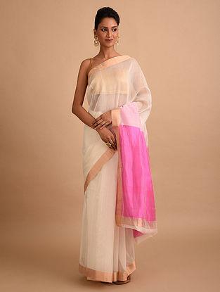 White-Pink Handwoven Chanderi Saree