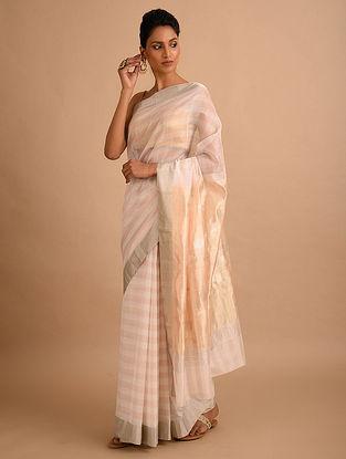 White-Beige Handwoven Chanderi Saree
