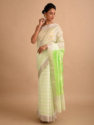 White-Green  Handwoven Chanderi Saree