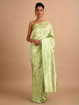 Green Handwoven Benarasi Chanderi Silk Saree