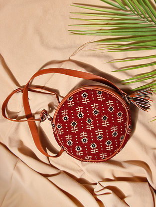 Red Handcrafted Cotton Sling Bag