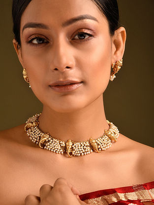 Gold Tone Temple Work Necklace And Earrings With Pearls