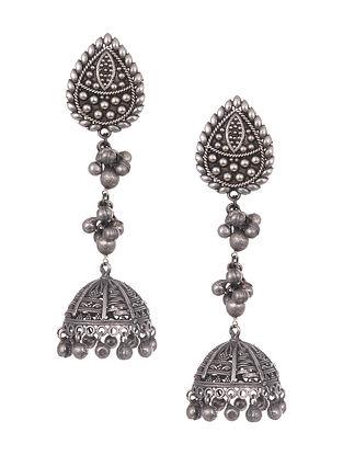 Silver Tone Handcrafted Jhumki Earrings