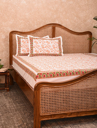 White And Orange Hand Block Printed Cotton King Bedsheet With Pillow Covers (Set of 3)