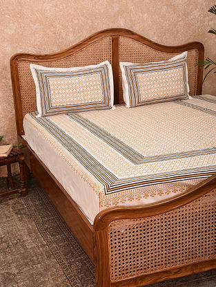 White And Ochre Hand Block Printed Cotton King Bedsheet With Pillow Covers (Set of 3)