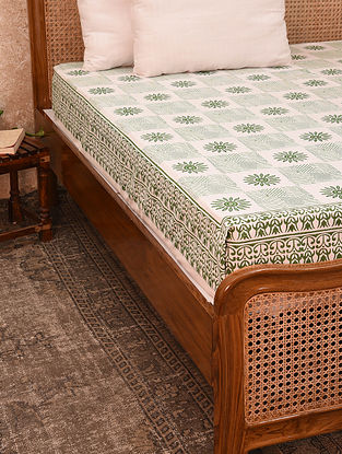 Off White And Green Hand Block Printed Cotton Bedcover (King)