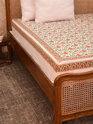 Off White And Coral Hand Block Printed Cotton Bedcover (King)