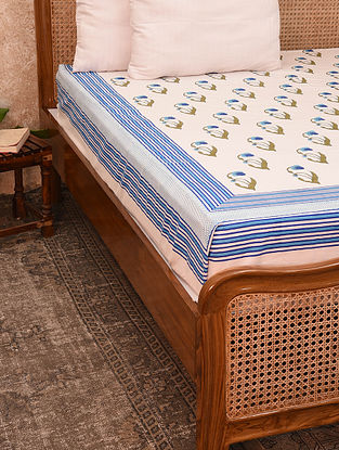 Off White And Blue Hand Block Printed Cotton Bedcover (King)