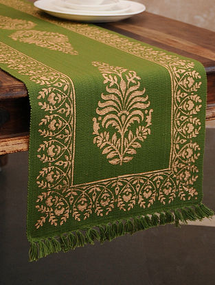 Olive Green Hand Block Printed Cotton Table Runner