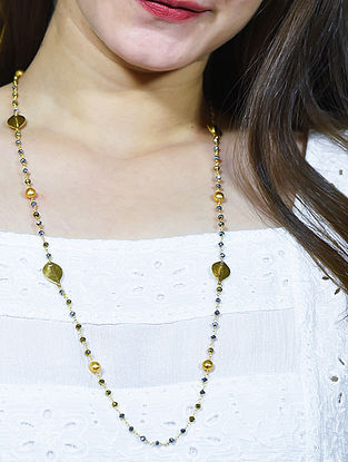 Yellow Grey Gold Tone Beaded Necklace Cum Mask Chain