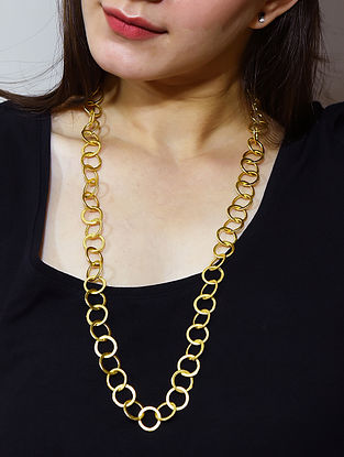Gold Tone Beaded Necklace Cum Mask Chain