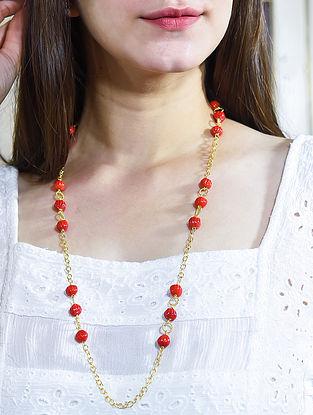 Orange Gold Tone Beaded Necklace Cum Mask Chain