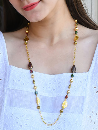 Multicolored Gold Tone Beaded Necklace Cum Mask Chain