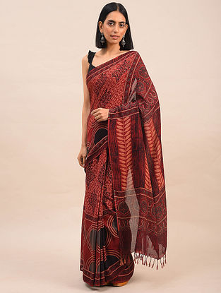 Red Natural Dyed Ajrakh Printed Cotton Saree