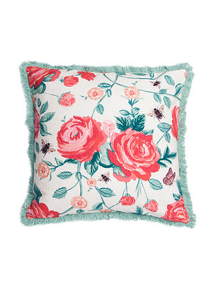 Rosebee Print Embroidery  Red Green Cushion Cover(L-18in,W-18in)