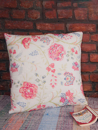Jardin Pink Pastels Quilted Cushion Cover(L-24in,W-24in)